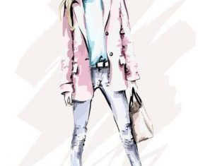 Clothing match fashion girl watercolor illustration vector