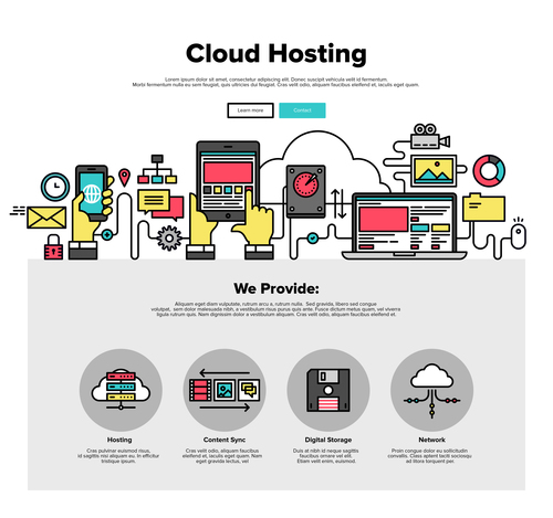 Cloud hosting flat graphic concept vector