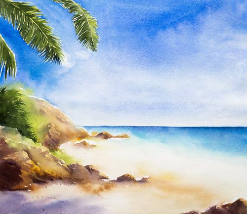Coastline watercolor illustrations vector