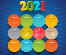 Colorful circular pattern 2021 calendar vector