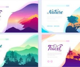 Colorful nature cards banner vector