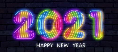 Colorful neon lights 2021 new year vector
