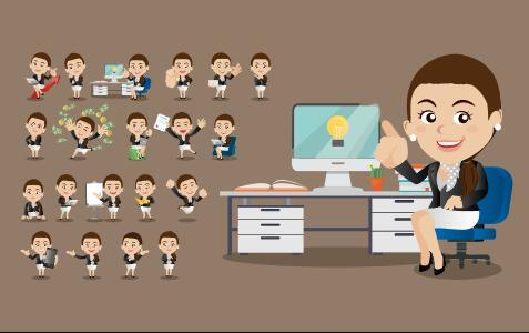 Comic character female CEO vector