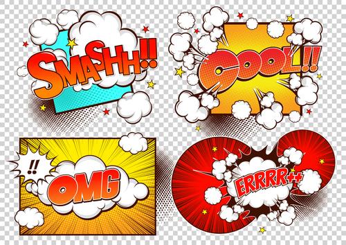 Comic frame bubbles vector