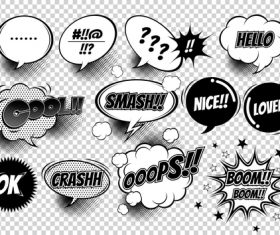 Comic white bubbles and black font vector