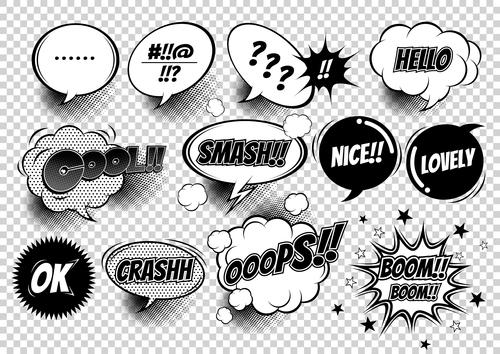 Comic white bubbles and black font vector