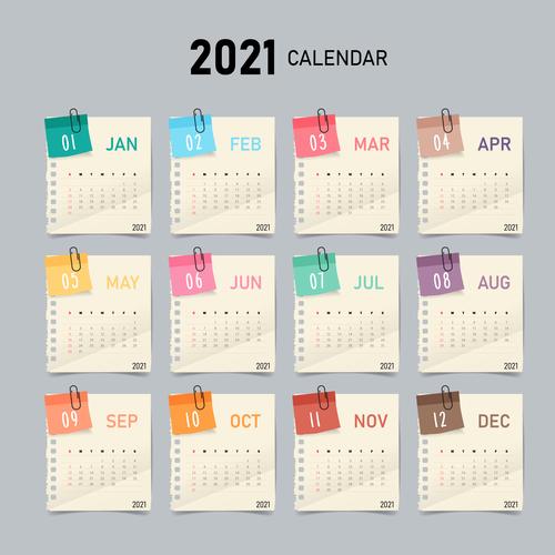 Concise 2021 calendar vector