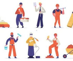 Construction worker cartoon illustration vector