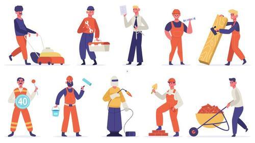 Construction worker cartoon illustration vector