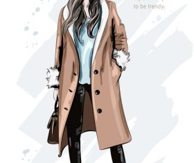 Cool female watercolor illustration vector