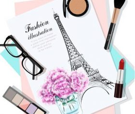 Cosmetic watercolor illustration vector