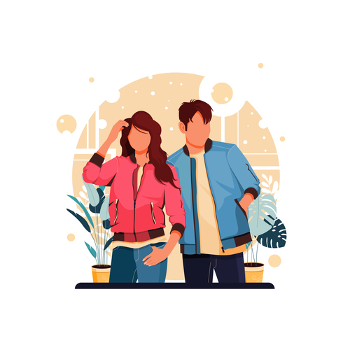 Couple in couple outfit vector