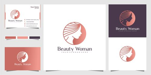 Cover logo design beautiful woman vector