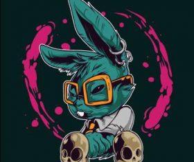 Crazy bunny icon vector