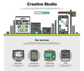 Creative studio flat graphic concept vector