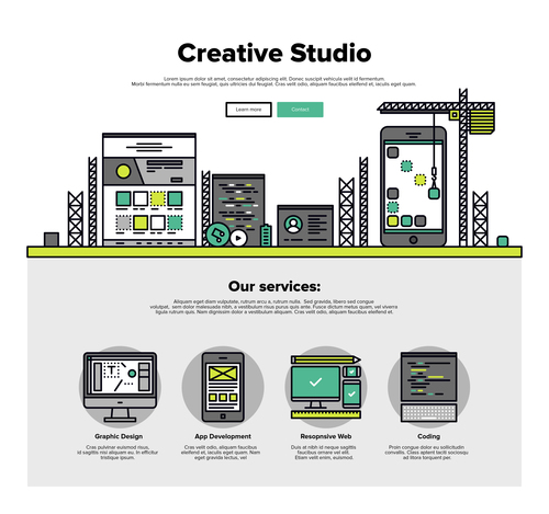 Creative studio flat graphic concept vector