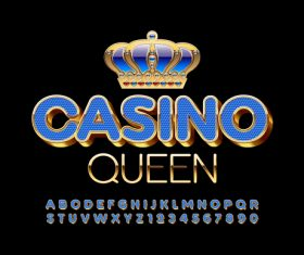 Crown casino letters numbers vector