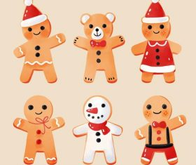 Cute Christmas baking gingerbread flat vector