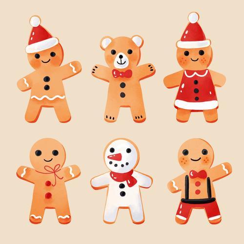 Cute Christmas baking gingerbread flat vector