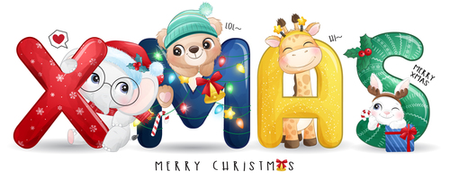 Cute animals and Xmas letters vector