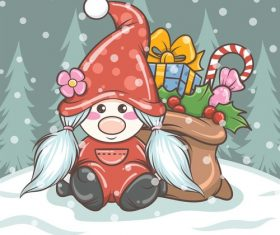 Cute cartoon dwarf christmas girl vector