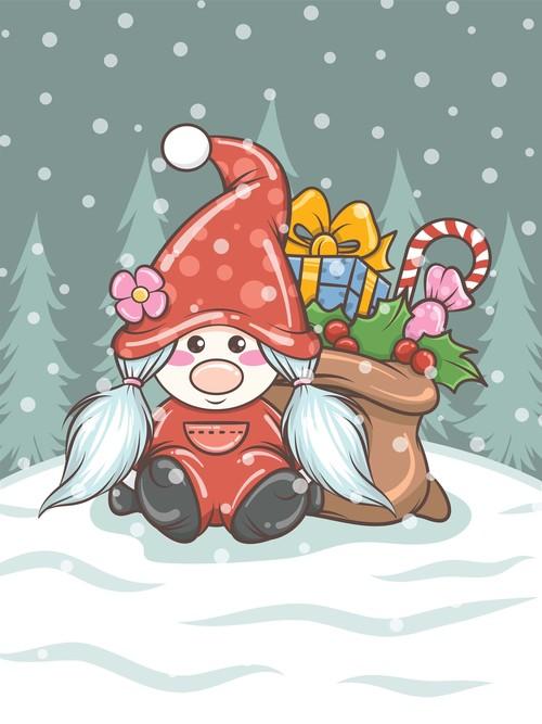 Cute cartoon dwarf christmas girl vector