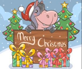 Cute donkey cartoon christmas illustration vector