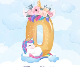 Cute doodle unicorn with number 0 vector illustration