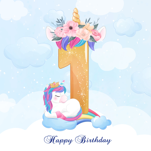 Cute doodle unicorn with number 1 vector illustration