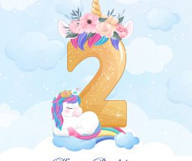 Cute doodle unicorn with number 2 vector illustration
