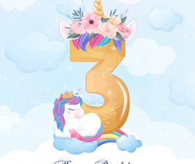 Cute doodle unicorn with number 3 vector illustration