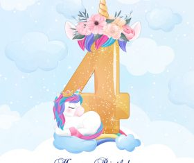 Cute doodle unicorn with number 4 vector illustration