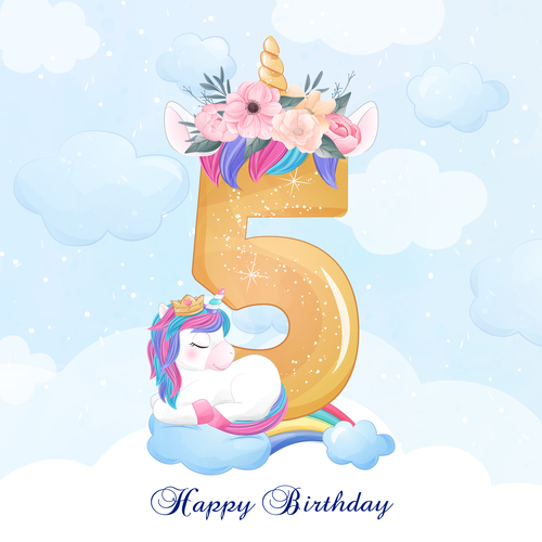 Cute doodle unicorn with number 5 vector illustration