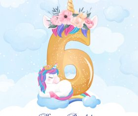 Cute doodle unicorn with number 6 vector illustration