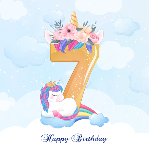 Cute doodle unicorn with number 7 vector illustration