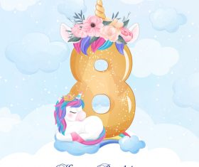 Cute doodle unicorn with number 8 vector illustration