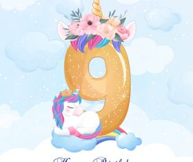 Cute doodle unicorn with number 9 vector illustration
