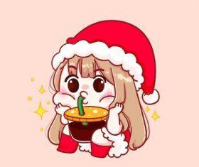 Cute girl manga illustration vector