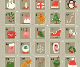 Cute hand drawn Christmas elements calendar vector