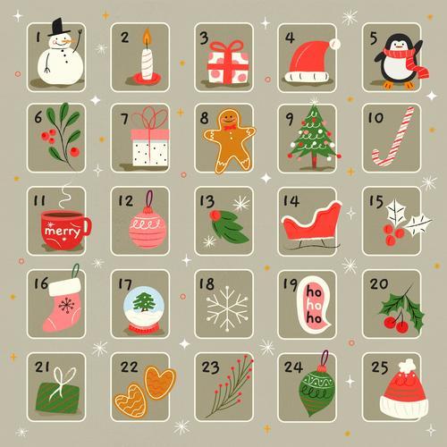 Cute hand drawn Christmas elements calendar vector