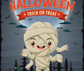 Cute little zombie halloween poster design vector