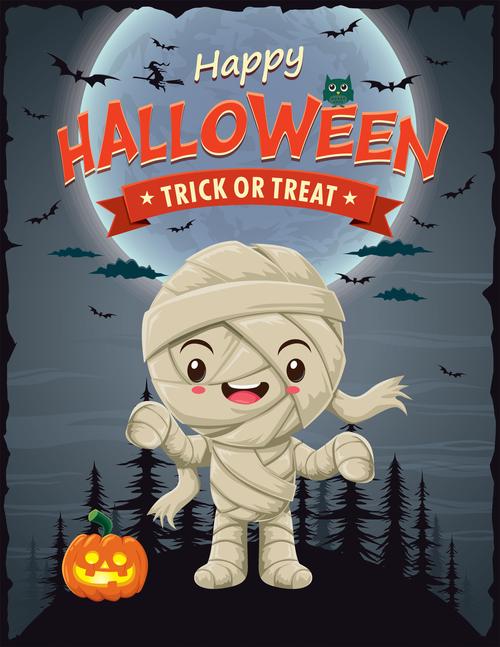 Cute little zombie halloween poster design vector