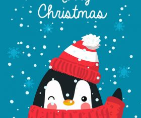 Cute penguin christmas card vector