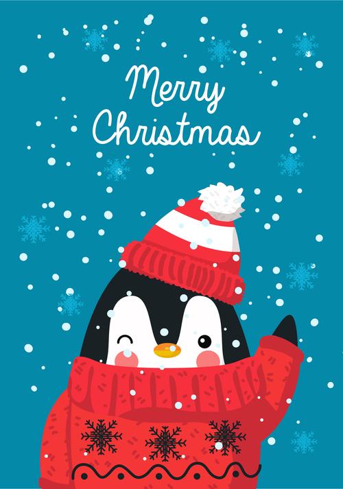 Cute penguin christmas card vector