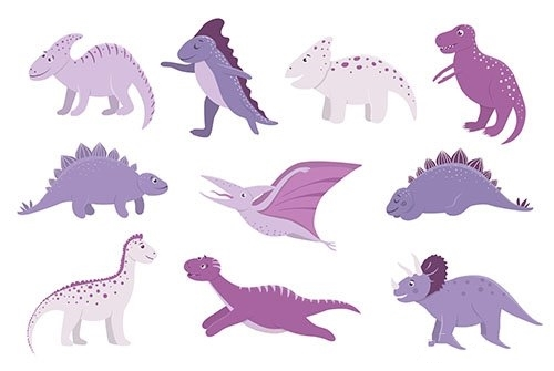 Cute pink and purple dinosaurs for children vector