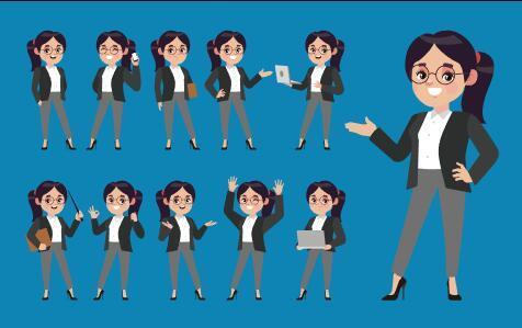 Cute professional woman cartoon vector