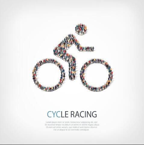 Cycle racing mix icon vector