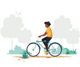 Cycling man cartoon illustration vector