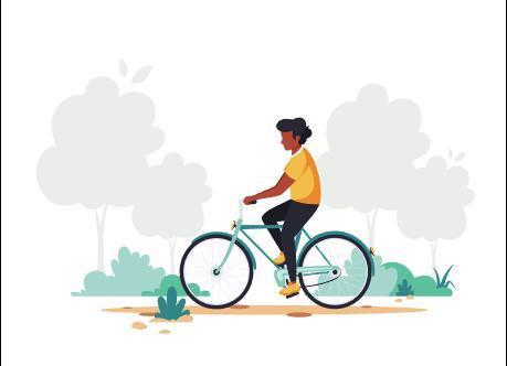 Cycling man cartoon illustration vector