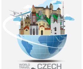 Czech famous tourist attractions concept vector